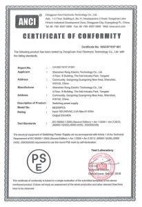 ANCI CERTIFCATE OF CONFORMITY